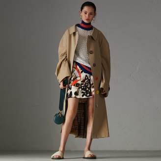 Burberry Graffiti Archive Scarf Print Silk Wool Mini Skirt , Size: 10, Beige
