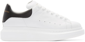 Alexander McQueen White & Black Leather Sneakers $575 thestylecure.com