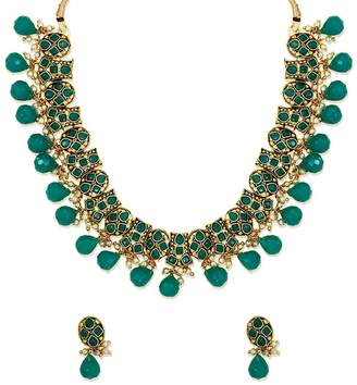 Ddivaa Green Stone Pearls Gold Plated Ethnic Indian Bollywood Traditional Kundan Necklace Set