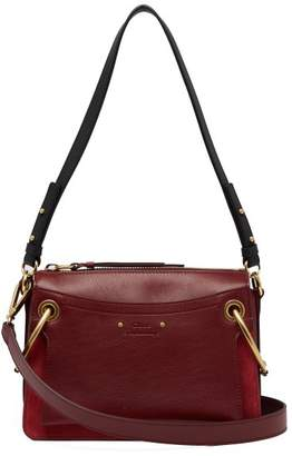 Chloé Roy Small Suede And Leather Shoulder Bag - Womens - Burgundy