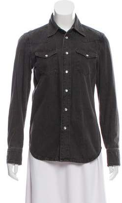 BLK DNM Long Sleeve Button-Up Top