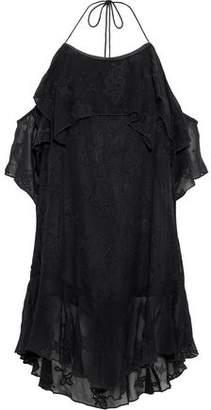 IRO Sabel Cold-Shoulder Broderie Anglaise Chiffon Mini Dress