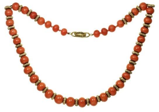 Van Cleef & ArpelsVan Cleef & Arpels 18K Yellow Gold Coral 1960s Bead Necklace