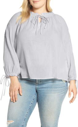 Lucky Brand Metallic Embroidered Peasant Top