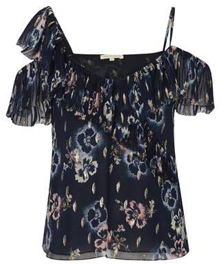 Rebecca Taylor Sleeveless Faded Floral Top in Navy
