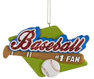 "Kurt Adler 4"" Red Glitter Baseball Fan Sports Christmas Ornament"