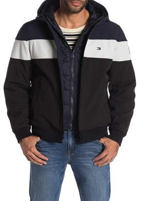 Tommy Hilfiger Tricolor Water-Resistant Hooded Soft Shell Jacket