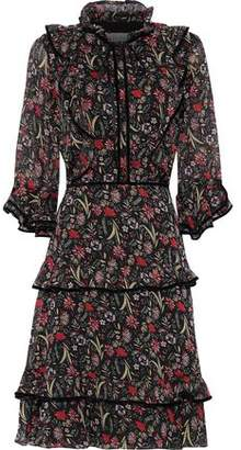 Mikael Aghal Tiered Velvet-trimmed Floral-print Georgette Dress