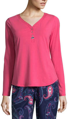 Liz Claiborne Long Sleeve Henley Pajama Top