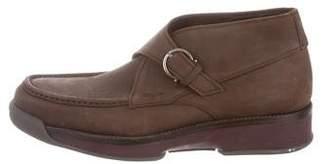 Salvatore Ferragamo Suede Monk Strap Ankle Boots