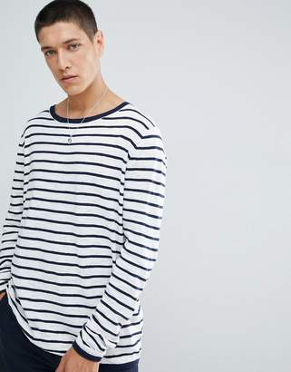 FoR Boat Neck Sweater In White Stripe