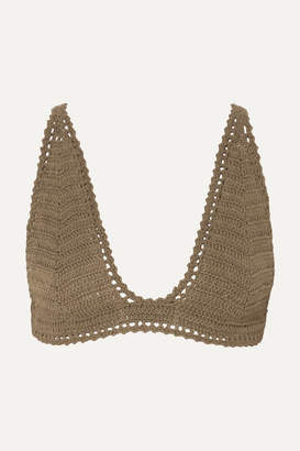 She Made Me Lalita Crocheted Cotton Triangle Bikini Top - Army green