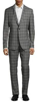 Strellson Slim Shadow Plaid Suit