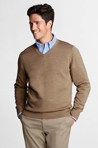 Lands' End Men's Regular Merino Wool V-neck Sweater