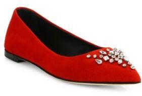 Giuseppe Zanotti Cam Nero Crystal-Embellished Suede Point-Toe Flats $695 thestylecure.com