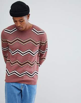 Asos DESIGN Jacquard Knit Sweater With Chevron Stripes In Dark Pink