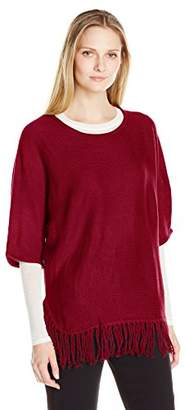 NY Collection Women's Plus Size Elbow Dolman Sleeve Crew-Neck Fringed Pullover