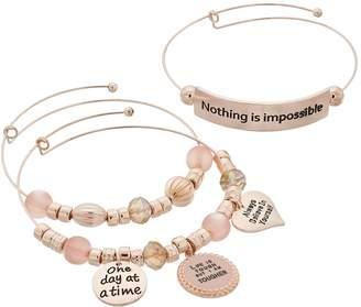 """""""Nothing is Impossible"""" Charm Bangle Bracelet Set"""
