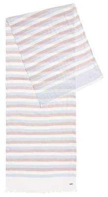 HUGO BOSS Striped Scarf Catyo One Size Light Blue
