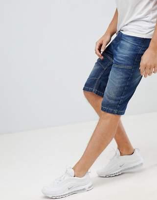 Crosshatch Dark Wash Denim Shorts