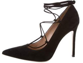 Gianvito Rossi Pointed-Toe Lace-Up Pumps