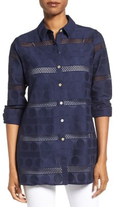 Women's Foxcroft Circle Eyelet Tunic Shirt $98 thestylecure.com