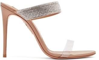 Aquazzura Spritz 105 Crystal Embellished Leather Sandals - Womens - Nude