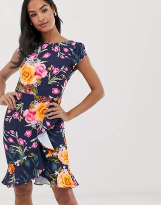 Paper Dolls floral short sleeve wrap over midi dress