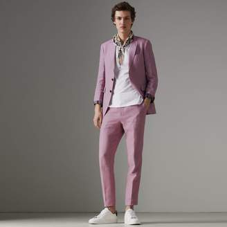 Burberry Soho Fit Linen Tailored Jacket , Size: 46R, Pink