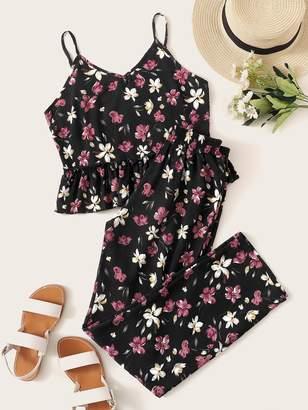 Shein Floral Print Ruffle Hem Cami PJ Set