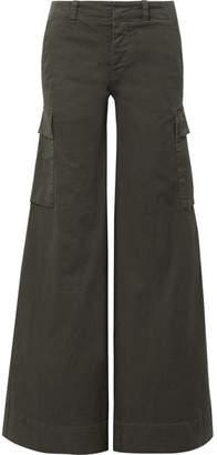 Nili Lotan Harrow Cotton-blend Twill Wide-leg Pants - Army green