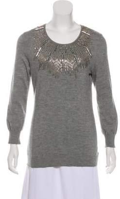 Oscar de la Renta Embellished Long Sleeve Sweater