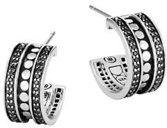 John Hardy Sterling Silver Dot Small Hoop Earrings with Black Spinel