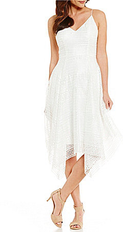 Adrianna Papell Adrianna Papell Striped Sheer Lace Fit & Flare Dress