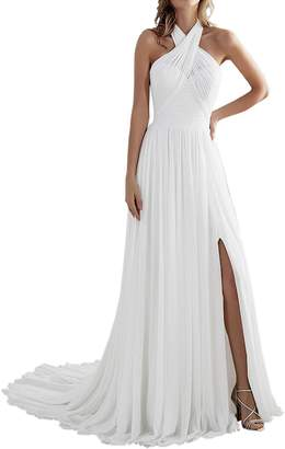 CongYunGe Long Pleated Wedding Dress A-line Chiffon Beach Bridal Gowns with Slit US 18W