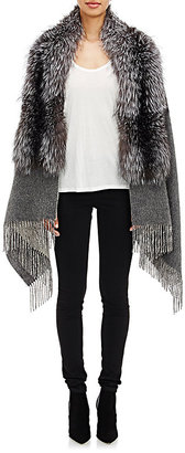 Barneys New York Women's Fox Fur-Collar Cape $1,695 thestylecure.com