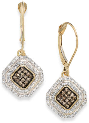 Wrapped in Love White and Champagne Diamond Leverback Earrings in 14k Gold (1/2 ct. t.w.), Created for Macy's