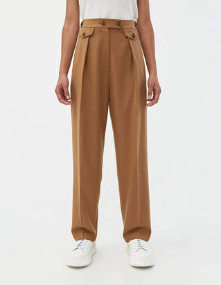 Mijeong Park Wool Blend Tailored Pleat Pant in Camel