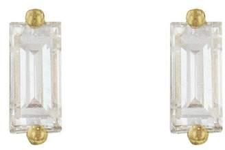 Suzanne Kalan Single White Diamond Baguette Earrings - Yellow Gold