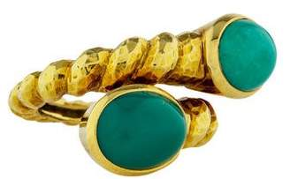 David Webb 18K Turquoise Bypass Ring