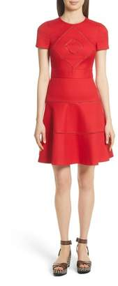 RED Valentino Open Stripe Fit & Flare Dress