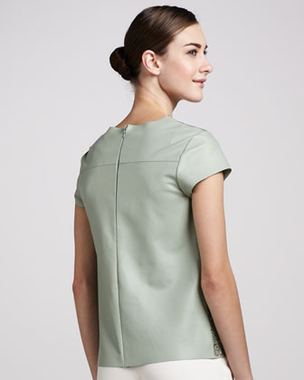 Raoul Lacey Cutout Leather Tee