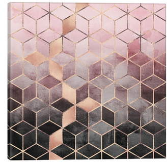 iCanvas Pink & Grey Cubes Giclee Print Canvas Art