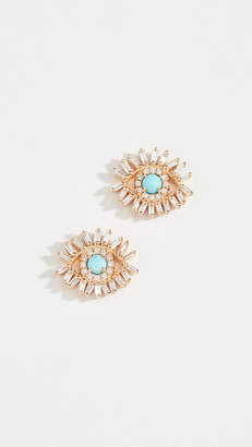 Suzanne Kalan 18k Diamond Turquoiuse Earrings