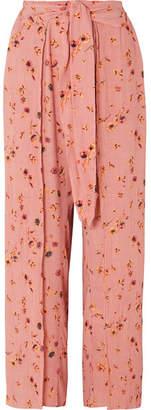 Faithfull The Brand Tiki Tiki Floral-print Crinkled-crepe Wide-leg Pants - Antique rose