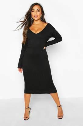 boohoo Petite Jumbo Rib Slouchy Neck Midi Dress