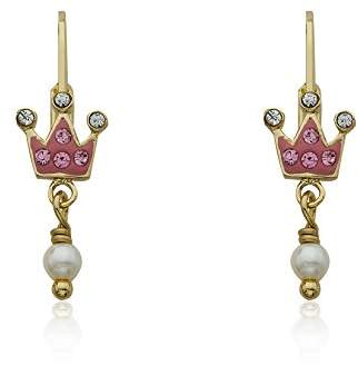 "Princess Girls Molly Glitz ""Pretty Princess"" 14k Gold-Plated Crystal Crown and Fresh Water Pearl Dangle Drop Earrings"
