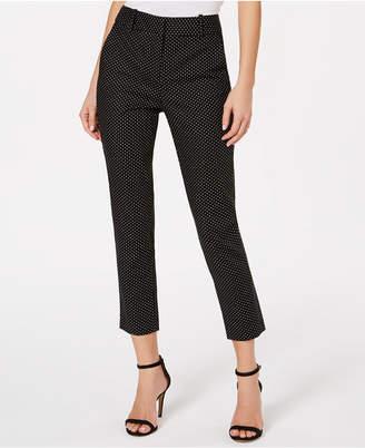 53a2b484309c CeCe Polka-Dot Straight-Leg Cropped Pants
