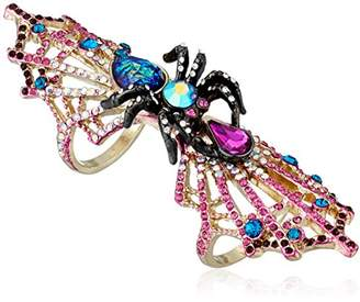 Betsey Johnson Halloween Spider and Spiderweb Double Finger Ring