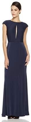 Social Graces Women's Low-Back Front Keyhole Cap-Sleeve Evening Gown
